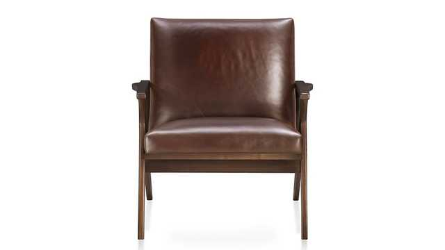 Cavett Leather Wood Frame Chair - Crate and Barrel