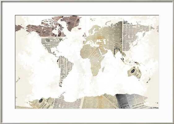 "World Map I - Bright White Mat 3.5"" - 36 x 24 - Clear Acrylic - Ronda Silver - art.com"
