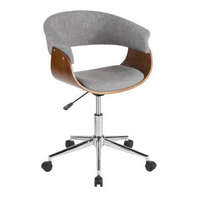 Light Gray Mid Century Joel Upholstered Office Chair - World Market/Cost Plus
