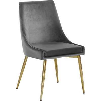 Paluch Upholstered Dining Chair (set of 2) - Gray, Gold - Wayfair