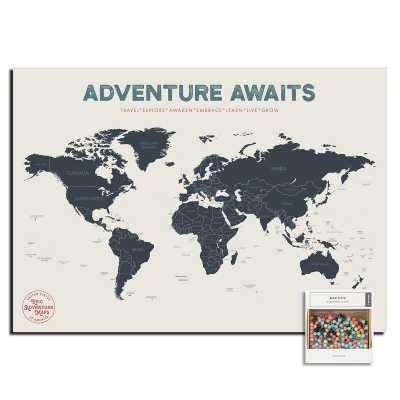 "Push Pin World Map Poster, 17"" x 24"" - Wayfair"