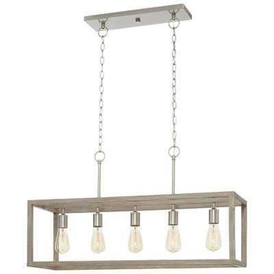 Boswell Quarter 5-Light Brushed Nickel Island Dining Room Chandelier with Weathered Wood Accents - Home Depot