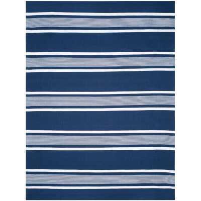 Hanover Stripe Handwoven Flatweave Navy/White Area Rug / 8'x10' - Wayfair