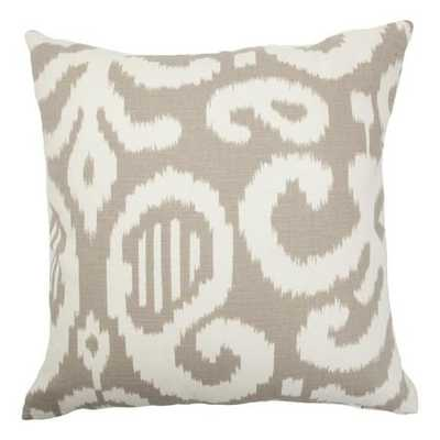 "Teora Ikat Pillow Fog - 18"" with Down Insert - Linen & Seam"