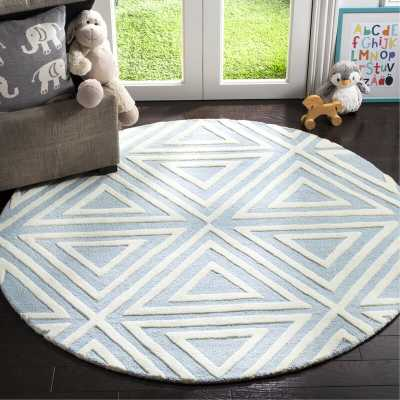 Brenner Hand-Tufted Wool Blue/Ivory Triangles Area Rug  5' Round - Wayfair