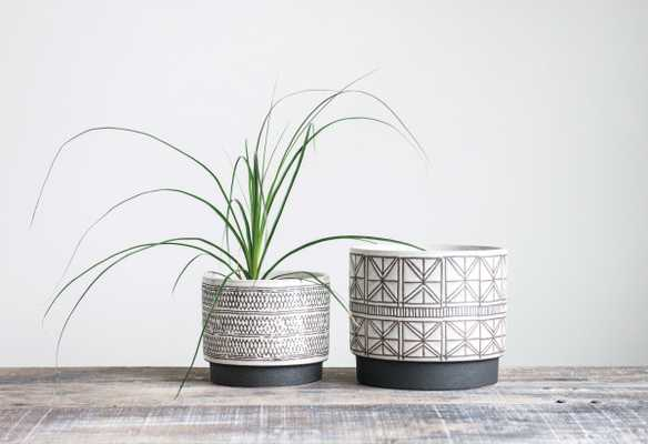 White Stoneware Planters with Black Designs (Set of 2 Designs) - Nomad Home