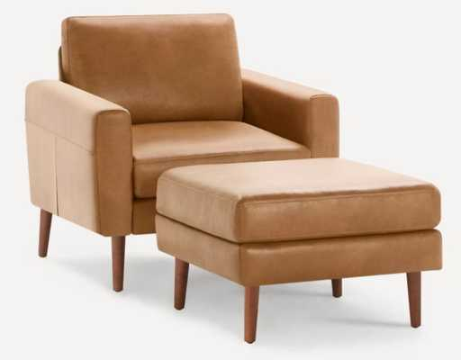 The Block Nomad Leather Armchair with Ottoman in Camel, walnut Legs - Burrow