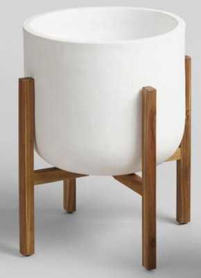 Ceramic Sevilla Outdoor Patio Planter - White, Large - World Market/Cost Plus