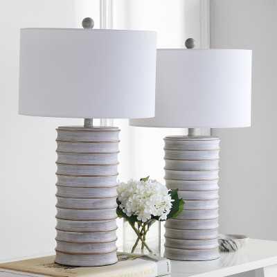 """Prague 28.5"""" White Washed Standard Table Lamp Set (Set of 2) - Wayfair"""