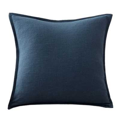"""Organic Cotton Casual Reversible Pillow Cover, 20 x 20"""", Navy - Pottery Barn"""
