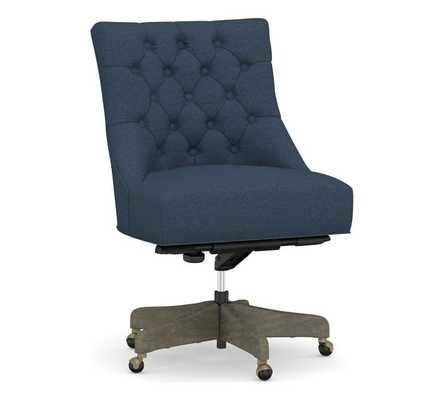 Hayes Upholstered Tufted Swivel Desk Chair with Gray Wash Frame, Brushed Crossweave Navy - Pottery Barn