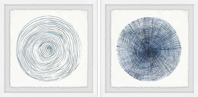 'Circle Lines Diptych' 2 Piece Framed Drawing Print Set - Wayfair