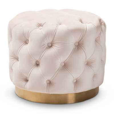 Cerys Glam Upholstered Tufted Cocktail Ottoman - AllModern