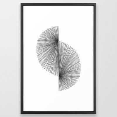 "Mid Century Modern Geometric Abstract S Shape Line Drawing Pattern Framed Art Print, 26"" x 38"" - Society6"