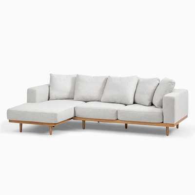 Newport Sectional Set 01: Left Arm Sofa, Right Arm Chaise Toss Back Cushion, Down Blend, Performance Coastal Linen, Pebble Stone, Almond - West Elm