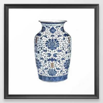 Blue & White Chinoiserie Porcelain Vase with Chrysanthemum Framed Art Print - Scoop Black 22x22 - Society6