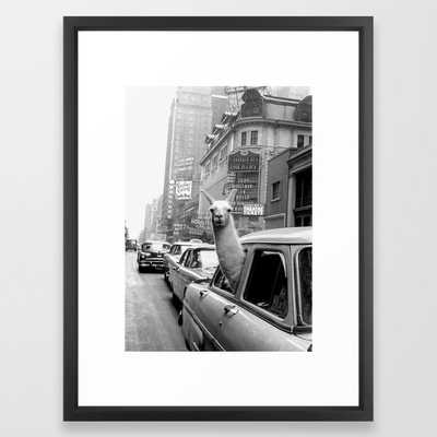 Llama Riding in Taxi, Black and White Vintage Print Framed Art Print - Society6