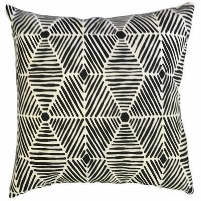 "Iakovos Geometric Pillow Black - 18"" x 18"" high fiber poly insert included - Linen & Seam"