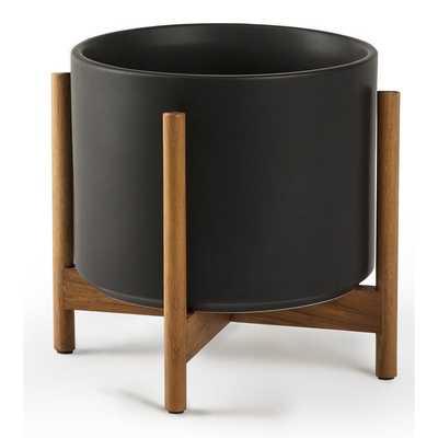 Ceramic Pot Planter With Hardwood Stand - AllModern