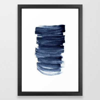 Just Indigo 3 | Minimalist Watercolor Abstract Framed Art Print - Society6