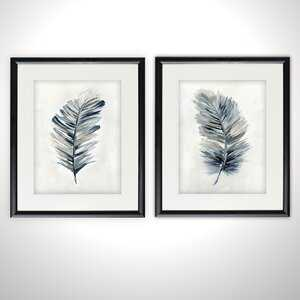 'Soft Feathers' 2 Piece Framed Acrylic Painting Print Set - Birch Lane