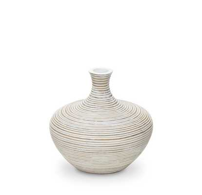 "GROOVED WIDE WHITE VASE - 6.25"" - Mitchell Gold + Bob Williams"