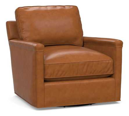 Tyler Leather Square Arm Swivel Armchair without Nailheads, Down Blend Wrapped Cushions, Signature Maple - Pottery Barn