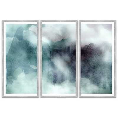 'COOL TONES ABSTRACT WASH' FRAMED WATERCOLOR PAINTING PRINT MULTI-PIECE IMAGE - Perigold
