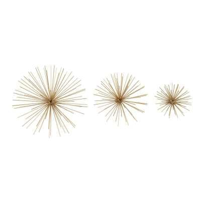 Set of 3 contemporary 6, 9, and 11 inch Gold Tin Starburst Sculptures - AllModern