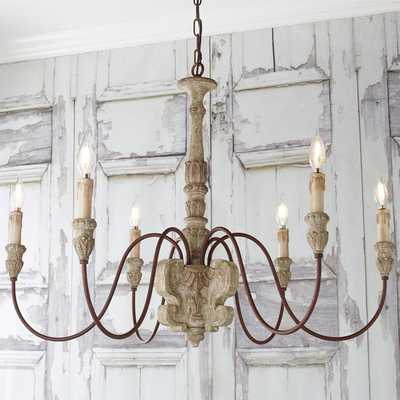 AGED COTTAGE CHIC CHANDELIER - 6 LIGHT - Shades of Light