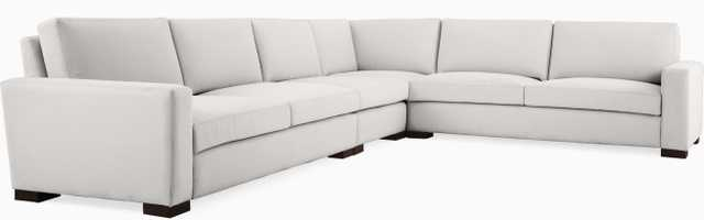Gray Anton Mid Century Modern L-Sectional - Sunbrella Premier Fog - Coffee Bean - Right - Joybird