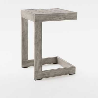 Portside Outdoor C-Shaped Side Table Weathered Gray - West Elm