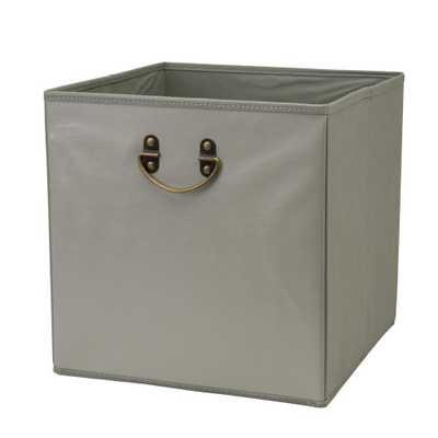 12.8 in. Faux Leather Grey Collapsible Storage Cube, Gray - Home Depot
