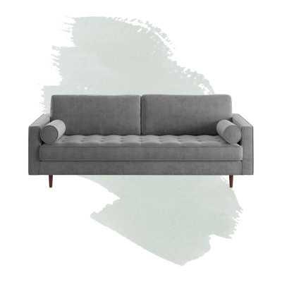 """Derry Velvet 88"""" Square Arm Sofa / Platinum - Wayfair"""