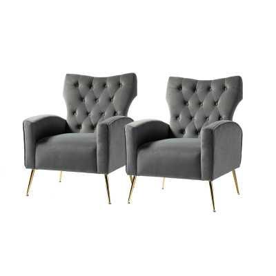 """Marson 28"""" W Tufted Velvet Wingback Chair (Set of 2) - Wayfair"""