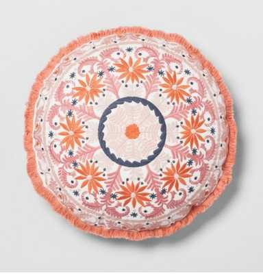 Coral Embroidered Round Throw Pillow - Opalhouse™ - Target