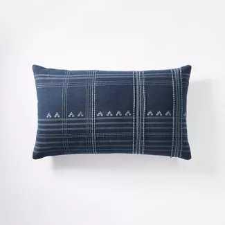 Lumbar Woven Textured Stripe Pillow Blue - Threshold designed with Studio McGee - Target