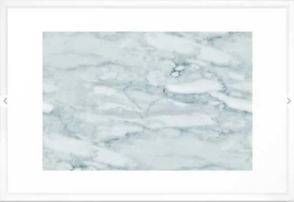 Marble Pale Teal Sea Green Marble Framed Art Print, vector black, 15x21 - Society6