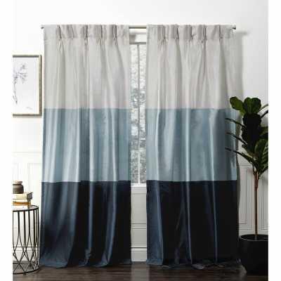 Flen Faux Silk Striped Room Darkening Pinch Pleat Curtain Panels (Set of 2) - Wayfair