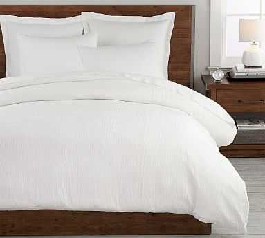 Beck Ruched Cotton Duvet Cover, King/Cal King, White - Pottery Barn