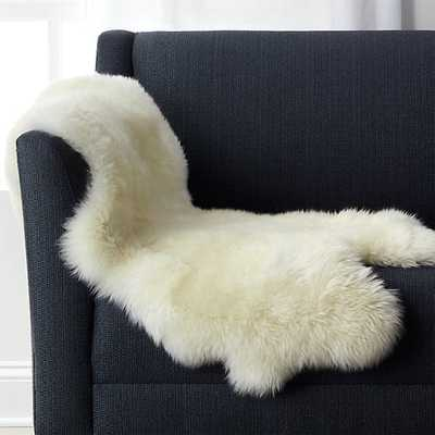 "Ivory Sheepskin Throw/Rug 21""x37"" - Crate and Barrel"