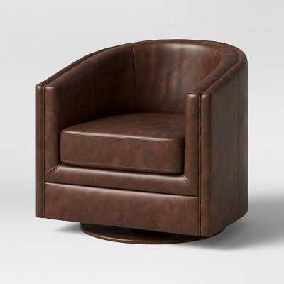 Berwick Barrel Swivel Chair Faux Leather Brown - Threshold - Target