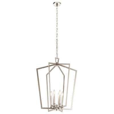 Polished Nickel Adona 6 - Light Lantern Geometric Chandelier - Wayfair