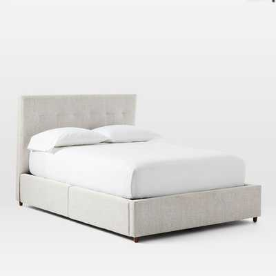 Grid-Tufed Storage Bed, Queen, Twill, Stone - West Elm