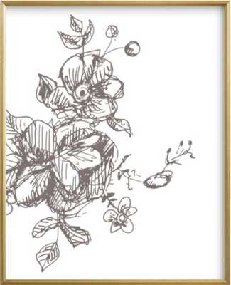 """Botanical Sketch 3 - 16"""" x 20""""- Gilded Wood Frame - Minted"""