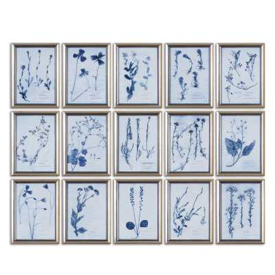 'FLORAL' 15 PIECE FRAMED GALLERY WALL SET ON GLASS - Birch Lane