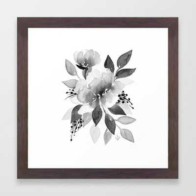 Black and White Watercolor Flowers Framed Art Print - Society6