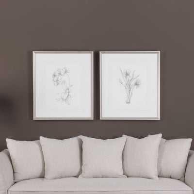 'Botanical Sketches' 2 Piece Framed Painting Print Set - Wayfair