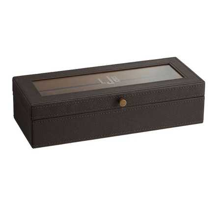 Leather Grant Watch Box, Brown - Pottery Barn