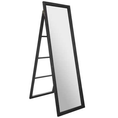 Pinnacle Classic Full Length Ladder with Easel Rectangular Black Floor Mirror - Home Depot